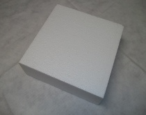 White wedge of polystyrene foam